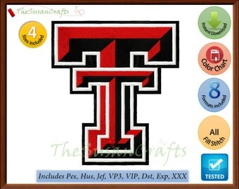 Texas Tech RAIDERS EMBROIDERY DESIGNS Pes, Hus, Jef, Dst, Exp, Vp3, Xxx, Vip