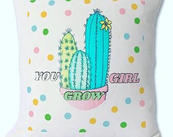 """Cactus cushion """"you grow girl"""" girl power decorative cushion with insert included. 46cmx 46cm"""
