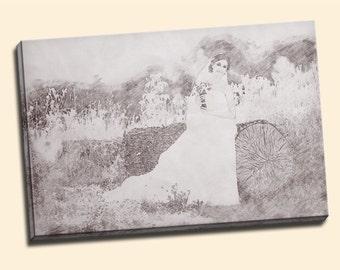Pencil Art Pencil Drawing Canvas Canvas Print Wedding Canvas Print Second Anniversary Canvas Canvas Gift Canvas Print Charcoal Drawing