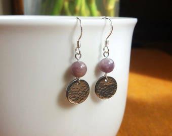 Handmade Lepidolite Hammered Sterling Silver Earrings
