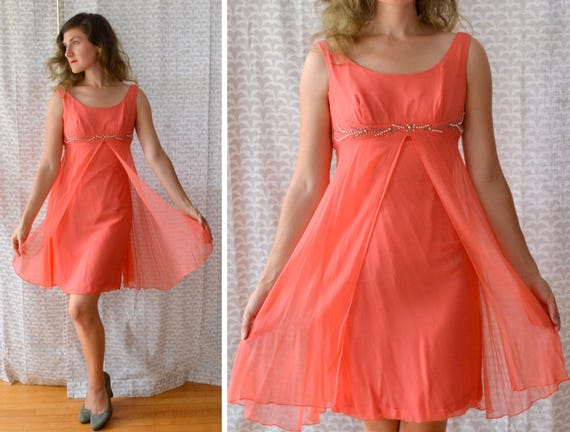 Mango Tango Dress | vintage 60's coral silk chiffon mini cocktail dress | small