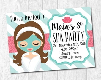 Spa Birthday Party Invitation, Printable Personalized Teal Pink Invite