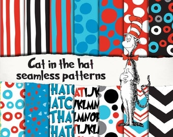 Cat in the hat patterns, seamless, scrapbooking, digital paper, invitation, birthday party decoration, instant download