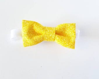 Yellow Flowery baby boy Bow Tie [BabyLou] on velcro