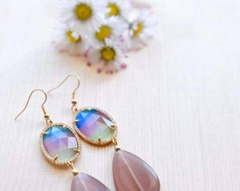 Rainbow earrings with agate