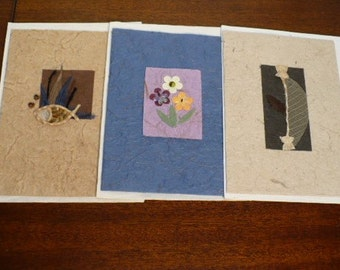 Handmade blank greeting cards, mulberry paper, 3 cards per set