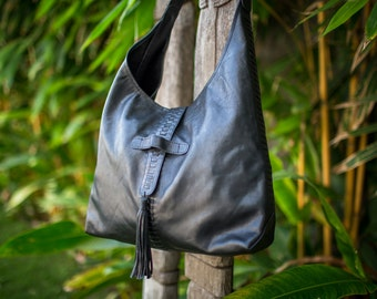 Leather Boho bag - Boho bag - Bohemian bag - Boho fringe bag - Slouchy bag - Boho purse - Leather boho purse - Black Boho bag - Slouchy bag