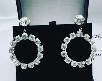 1960's Rhinestone Hoop Earrings
