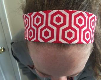 Red and White Geometric headband