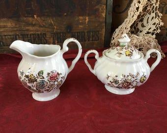 Vintage Johnson Brothers Ironstone Transferware Sugar and Creamer Staffordshire Bouquet England