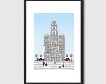 Royal Liver Building Print Original Artwork