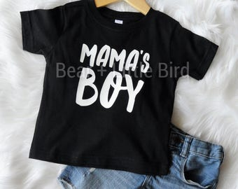 Mama's Boy Infant Toddler Kids Graphic T-shirt Black and white or custom colors available