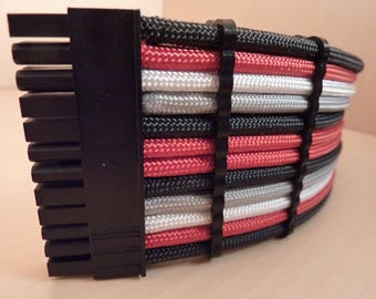 24 Pin Motherboard Custom Sleeved Red White Gray Black Paracord Extension Cable 30cm Heatshrinkless