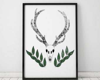 Stag Head Wall Art Deer Head Print Animal Skull Stag Skull Deer Skull Animal Skulls Antlers Printable Art Prints Wall Decor Instant Download