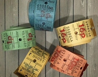50 Vintage Rolled British Tickets