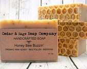 Organic Raw Honey Soap | 6oz+ Thick Bar Soap, Unscented Soap, Cold Process Soap, Beeswax Soap, Royal Jelly Soap, Handmade Soap, Homemade
