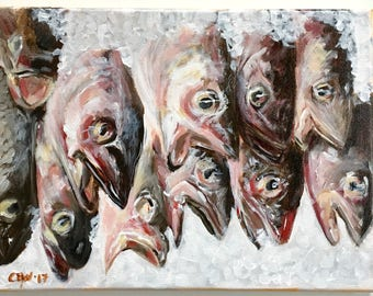 Original acrylic painting of fish on ice, 9x12 canvas, still life