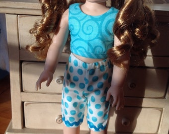 Blue polkadot pants and swirl crop top for 14-14.5 in doll such as Wellie Wishers or Hearts 4 Hearts dolls
