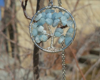 Tree of Life Necklace Aquamarine
