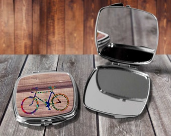 Coloured Bicyle Compact mirror, Make up mirror, Pocket mirror, Hand Mirror, Purse Mirror, Birthday gift, Gift for her