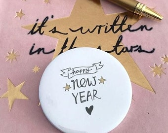 Happy new year Pin Button / Pin Buttons / Xmas Pin Button