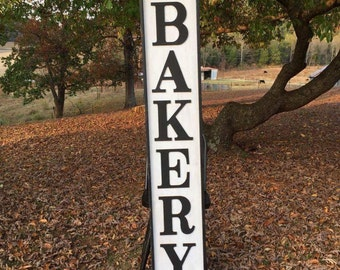 """HUGE 6 Feet tall Handcrafted wooden """"BAKERY"""" sign"""