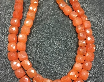 Carnelian box faceted , Carnelian cube faceted beads