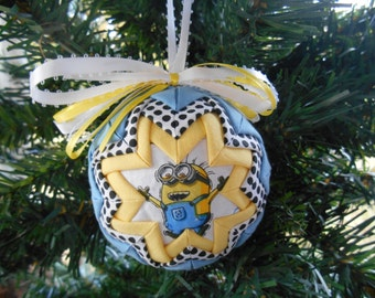 Minion Ornament Handmade Quilted Ornament Quilted Christmas Ornament
