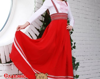 Traditional russian red sarafan, Slavic dress, linen dress, pregnant dress, floor lenght dress, sundress without sleeves, blue sarafan