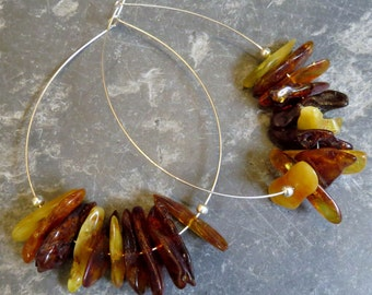 Polished Amber Sterling Silver Hooped Earrings