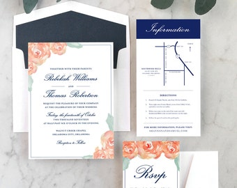 Traditional Floral Wedding Invitations
