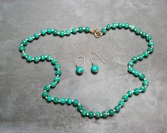 "Amazonite Necklace 18"" and Earrings"