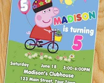 Peppa Pig Birthday Invitation, Peppa Pig, Peppa Pig Invitation, Peppa pig Invite,Peppa Pig Party, Peppa Pig Party Invitations