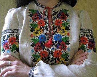 "Ukrainian vyshyvanka blouse ""Fialka"" blouse of 100% linen Ukrainian clothing embroidered shirt  boho blouse"