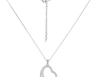925 sterling silver necklace with heart glitter rhinestone bling eye-catcher