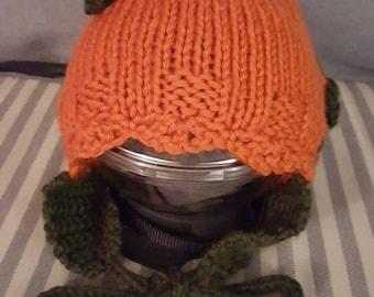 Little Pumpkin-Head baby hat with ear flaps