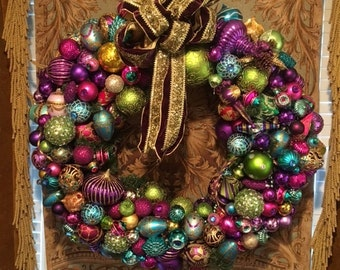 NOT FOR SALE -38 x 38 inches,Multi Color Holiday Wreath