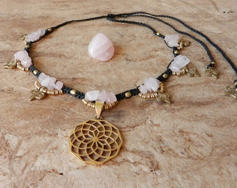 Necklace Tribal Rose Quartz flower of life