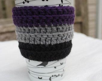 Purple, Gray, Black, Coffee Cup Cozy, Coffee Cozy, Crochet Coffee Cozy, Coffee Sleeve, Cup Cozy, EcoFriendly, Mug Cozy, Cup Sleeve, Tea Cozy