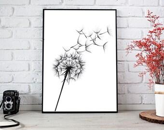 DANDELION Print - Dandelion Poster - Instant Download - Dandelion Wall Art - Wall Decor Poster - botanical poster - black and white print