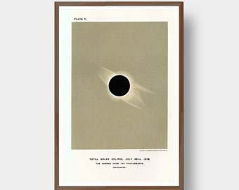 Total Solar Eclipse 1878 Antique Astronomy Space Art Print Minimal Graphic Science Geek Gift Wall Art