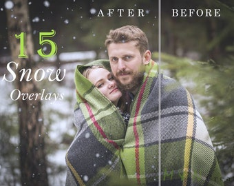 Snow Overlays Photoshop textures Winter Photo Effect Instant Download, Blowing snow, Digital backdrop Winter Photography, High resolution
