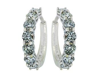 Diamond Huggie Style Earrings - 18K White Gold