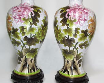 Pair of cloisonne vases height 40 cm