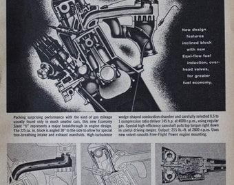Dodge Dart Engine Exploded View Slant 6 Vintage Black & White