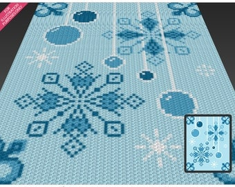 Winter Scene crochet blanket pattern; c2c, cross stitch; knitting; graph; pdf download; no written counts or row-by-row instructions