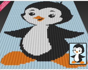 Cute Penguin crochet blanket pattern; c2c, cross stitch; knitting; graph; pdf download; no written counts or row-by-row instructions