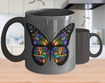 Abstract butterfly color changing mug