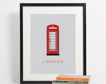 London Poster, London Print, Telephone Booth, City Wall Art, Wall Art, Printable Art, City Poster, Travel Print, Red Telephone Booth