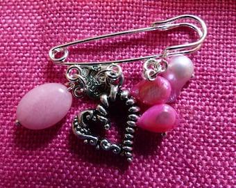 Heart Safety Pin Brooch
